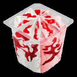Helado vasito de nata y fresa