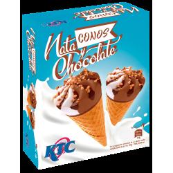 Helado cono de nata-chocolate